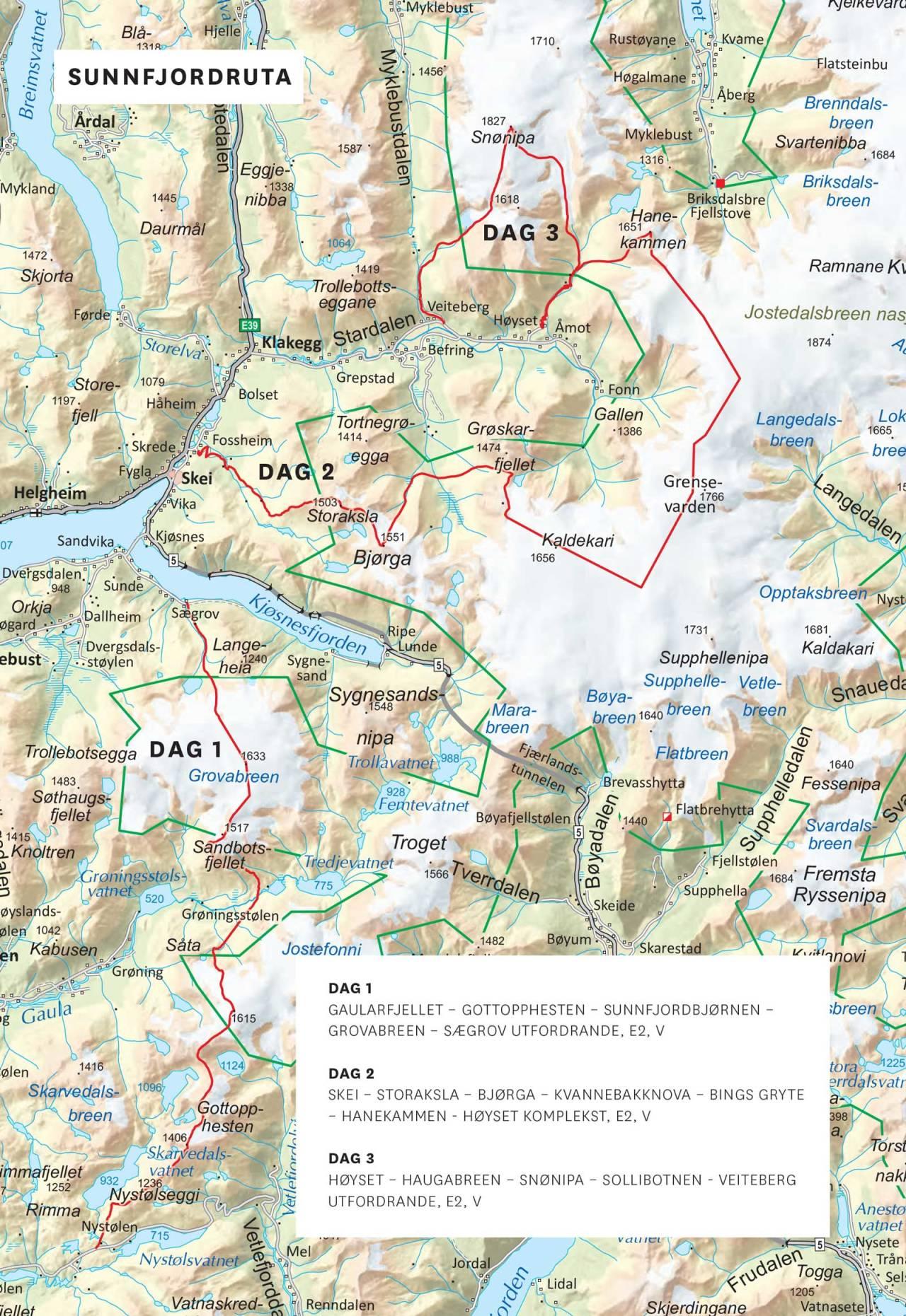 Kart over Sunnfjordruta med inntegnet rute. Frå Toppturar i Sunnfjord.