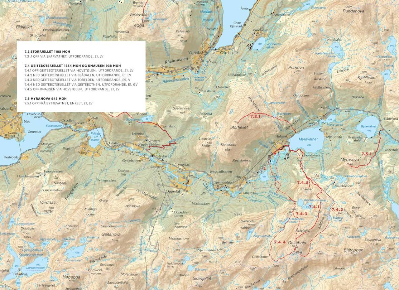 Kart over Viksdalen med inntegnet rute. Frå Toppturar i Sunnfjord.