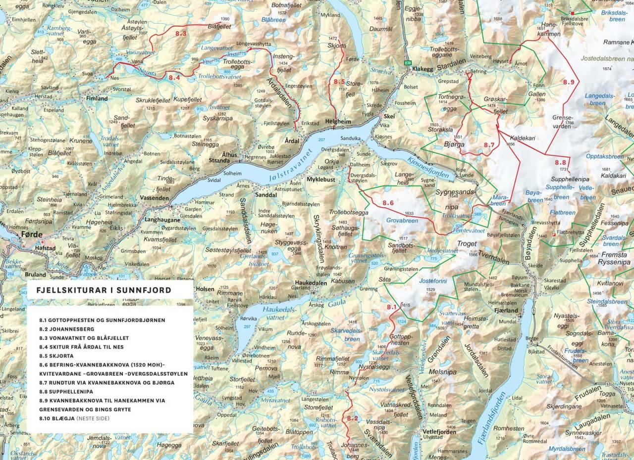 Kart med inntegnet rute over fjellskiturar i Sunnfjord. Frå Toppturar i Sunnfjord.