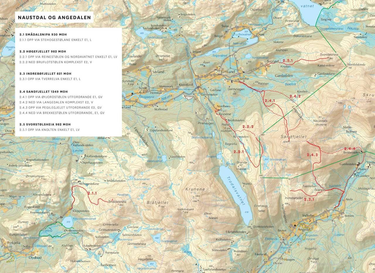 Kart over Naustdal og Angedalen med inntegnet rute. Frå Toppturar i Sunnfjord.