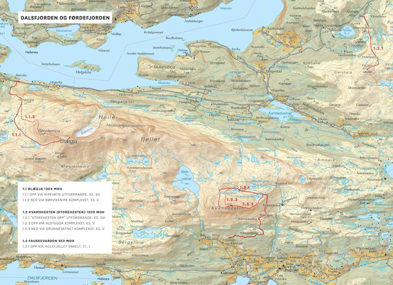 Kart over Dalsfjorden og Førdefjorden med inntegnet rute. Fra Toppturar i Sunnfjord.