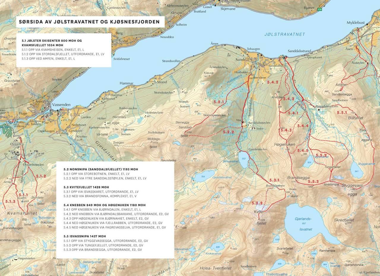 Kart over Sørsida av Jølstravatnet og Kjøsnesfjorden med inntegnet rute. Frå Toppturar i Sunnfjord.