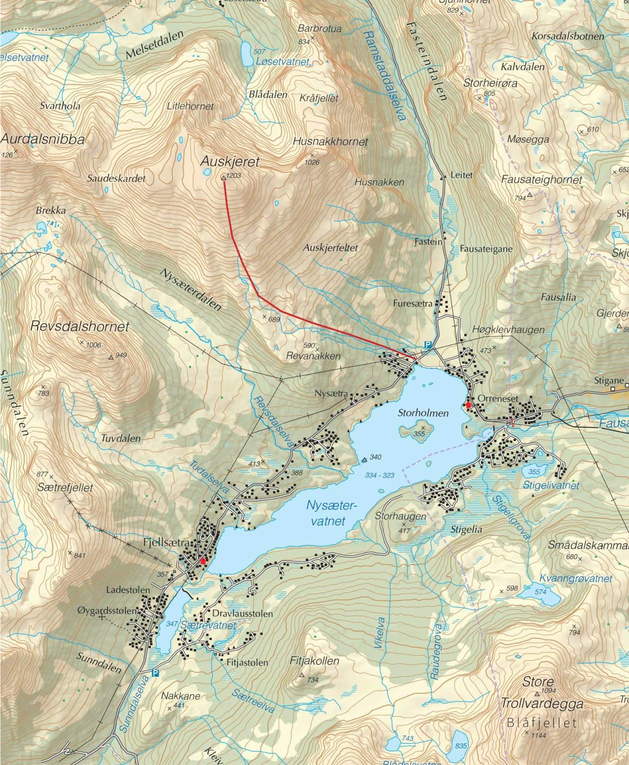 Kart over Auskjeret med inntegnet rute. Fra Trygge toppturer.