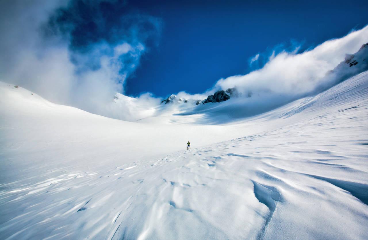 Frå ei alternativ og flott oppstigning frå Trandal- dalen ein vindfull dag. Foto: Håvard Myklebust.