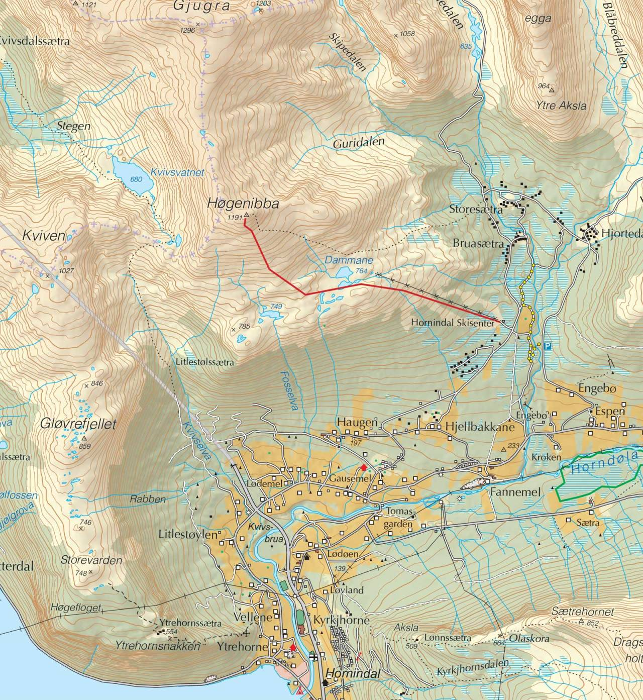 Kart over Høgenibba med inntegnet rute. Fra Trygge toppturer.