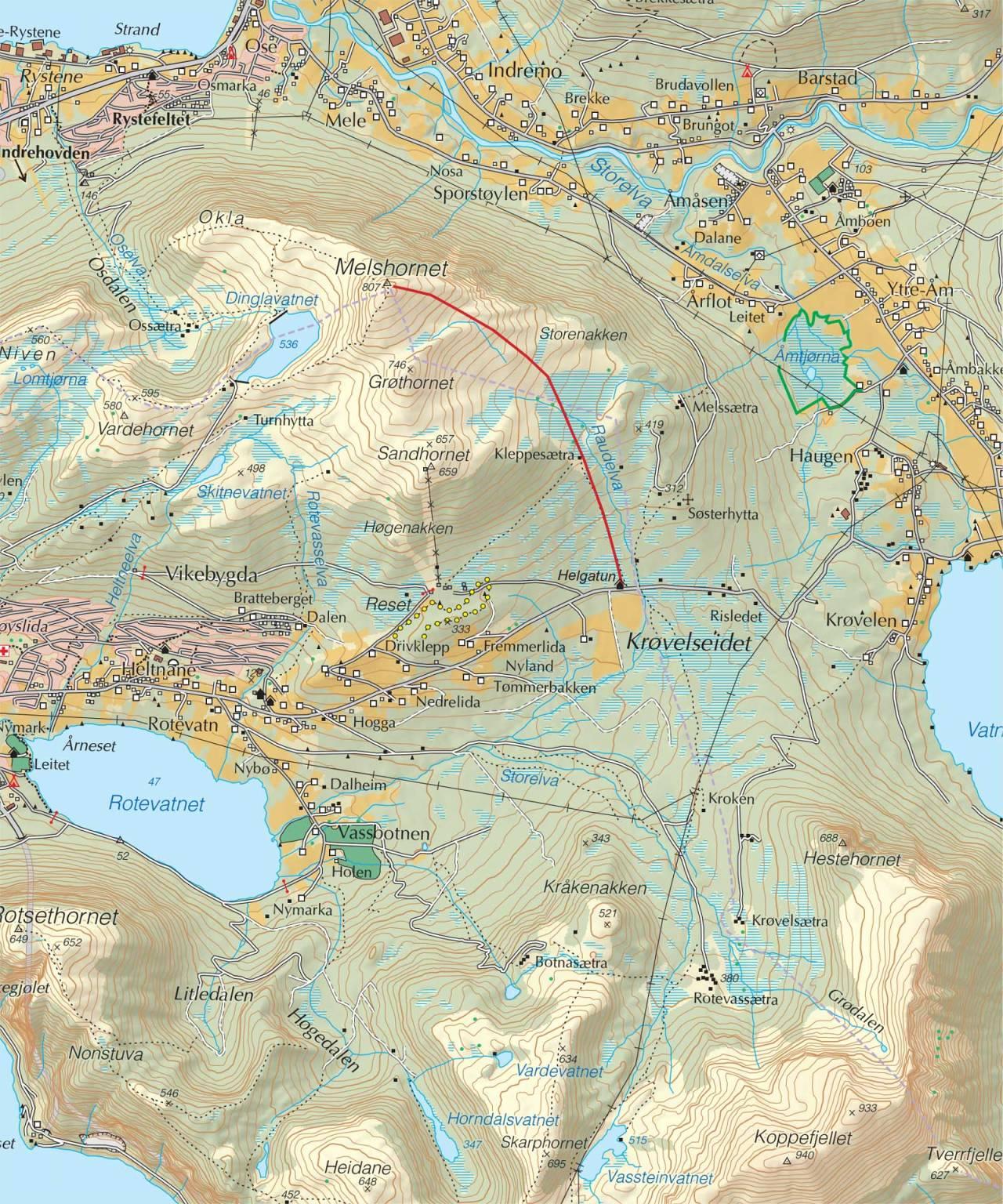 Kart over Melshornet, med inntegnet rute. Fra Trygge toppturer.