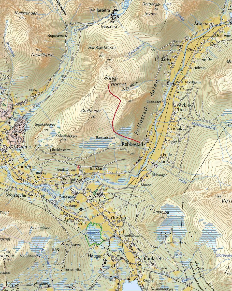 Kart for Sandhornet i Sunnmørsalpene.