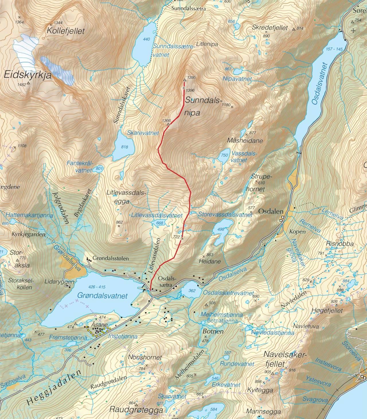 Kart over Sunndalsnipa med inntegnet kart. Fra Trygge toppturer.