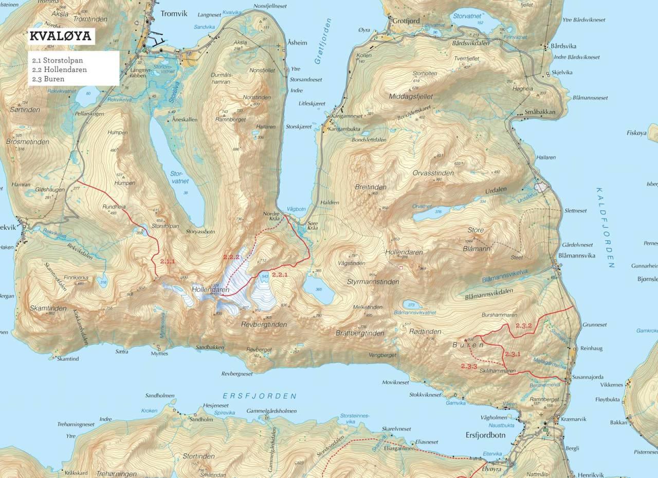 Oversiktskart over Buren med inntegnet rute. Fra Toppturer i Troms.