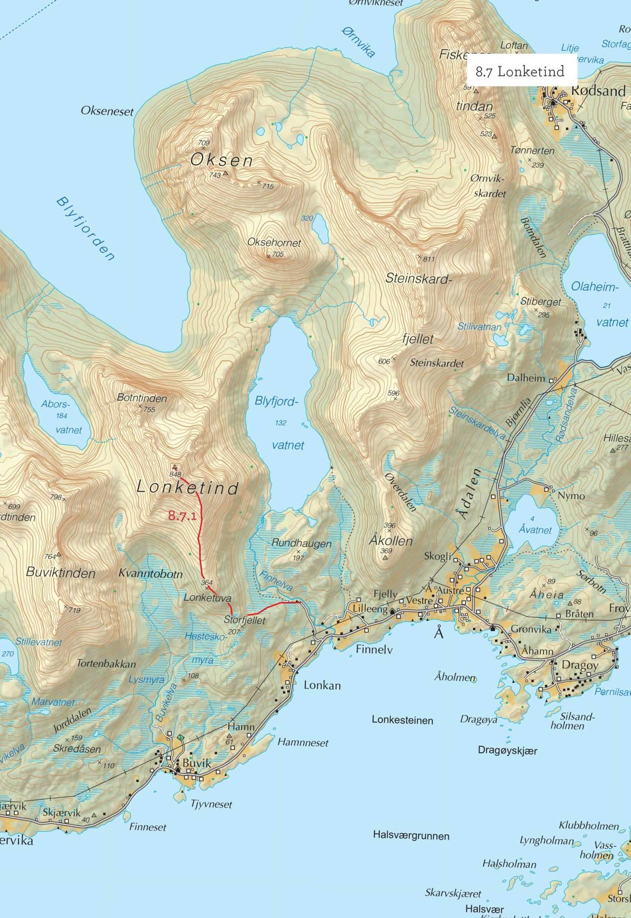 Oversiktskart over Lonketind med inntegnet rute. Fra Toppturer i Troms.