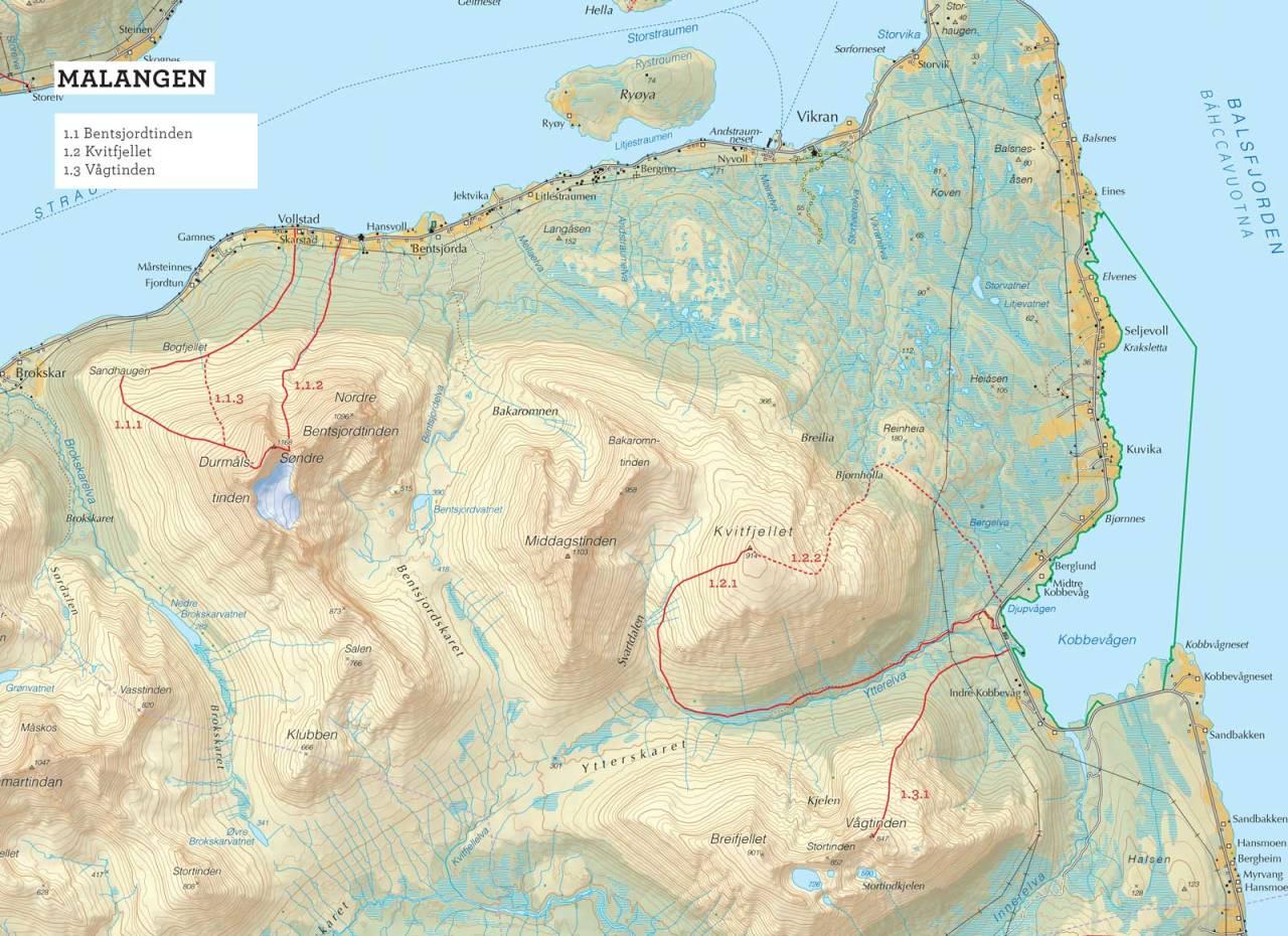 Oversiktskart over Bentsjordtinden med inntegnet rute. Fra Toppturer i Troms.