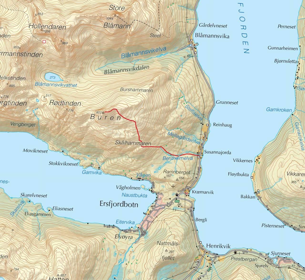 Kart over Buren med inntegnet rute. Fra Trygge toppturer.
