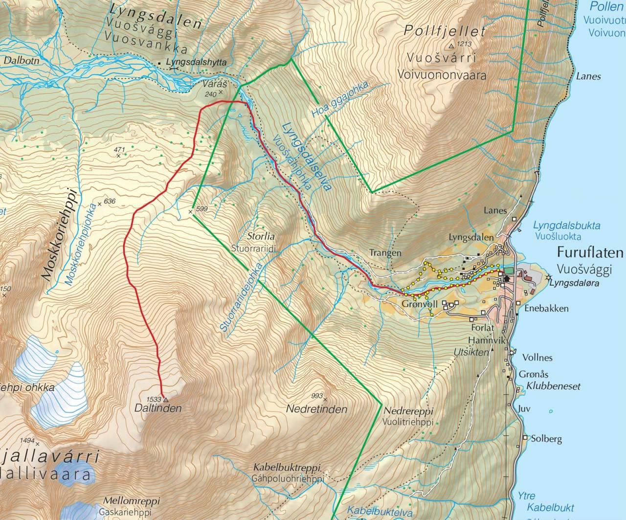 Kart over Daltinden med inntegnet rute. Fra Trygge toppturer.