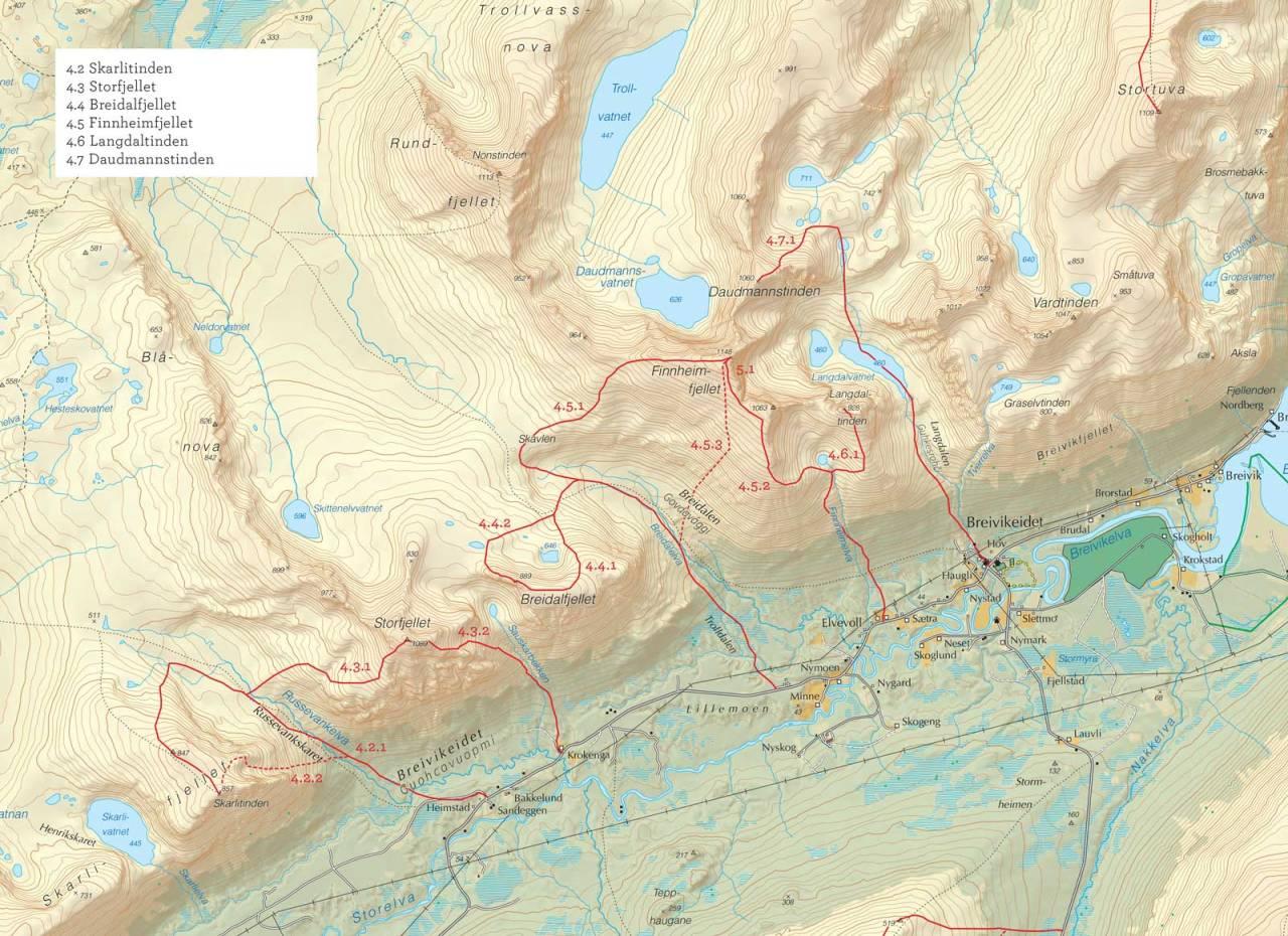 Oversiktskart over Finnheimfjellet med inntegnet rute. Fra Toppturer i Troms.