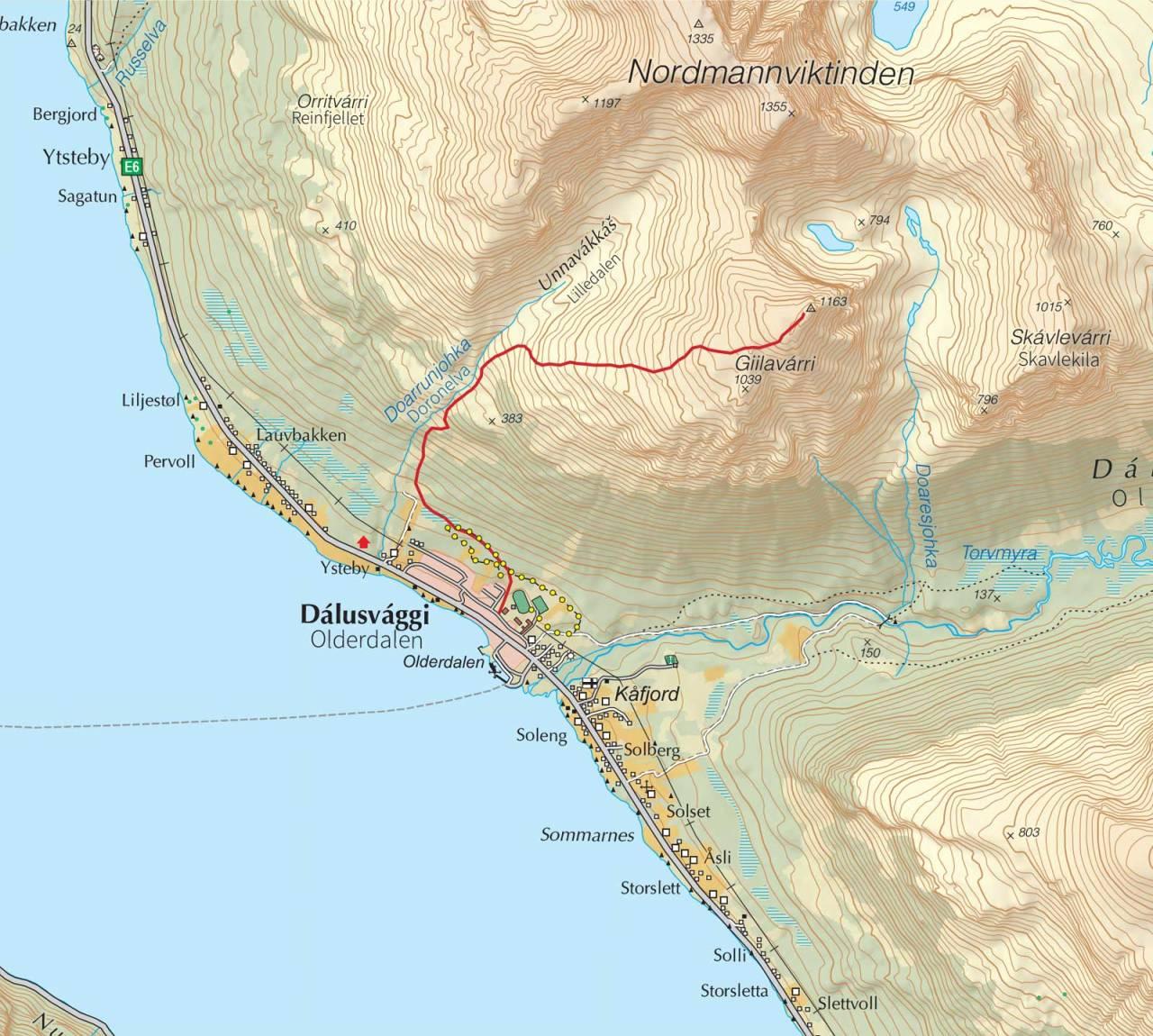 Kart over Giilavarri med inntegnet rute. Fra Trygge toppturer.