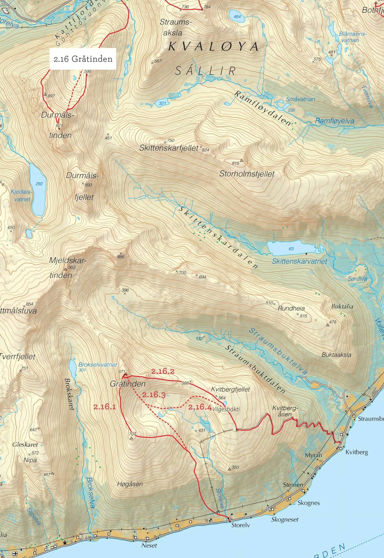 Oversiktskart over Gråtinden med inntegnet rute. Fra Toppturer i Troms.