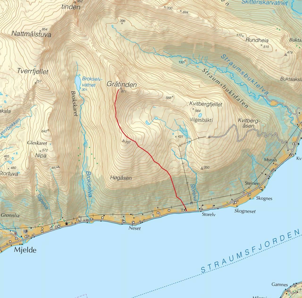 Kart over Gråtinden med inntegnet rute. Fra Trygge toppturer.