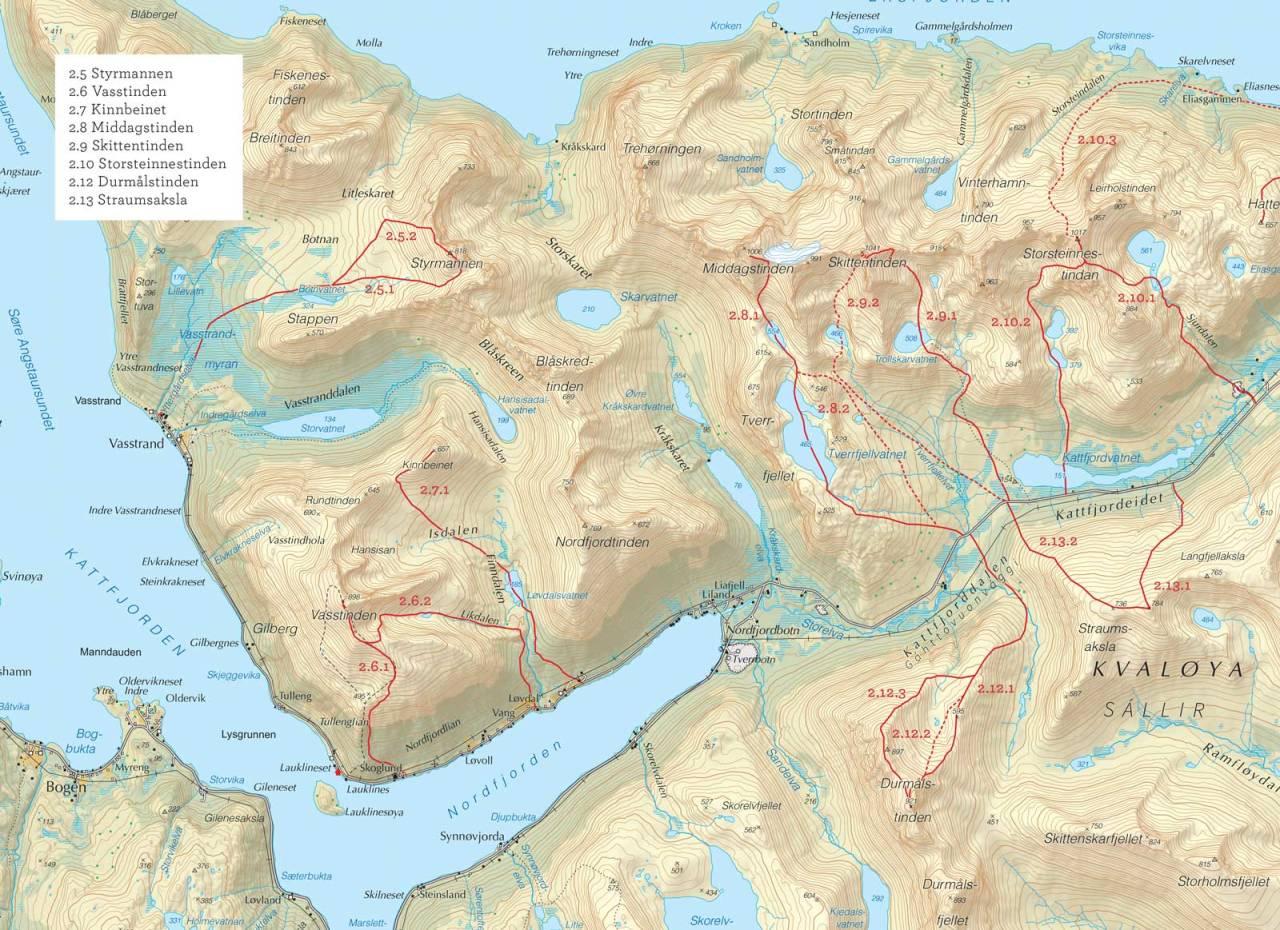 Oversiktskart over Kinnbeinet med inntegnet rute. Fra Toppturer i Troms.