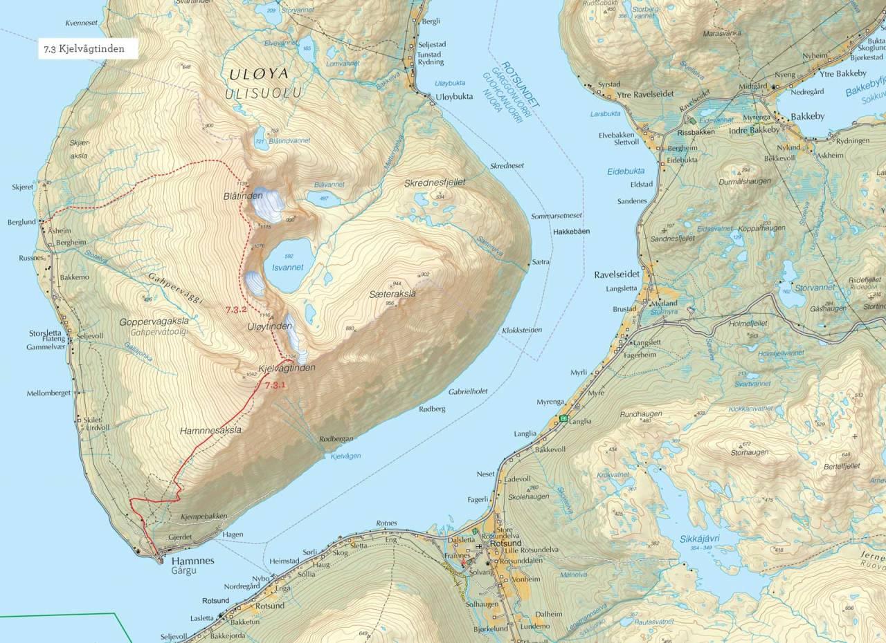 Oversiktskart over Kjelvågtinden med inntegnet rute. Fra Toppturer i Troms.