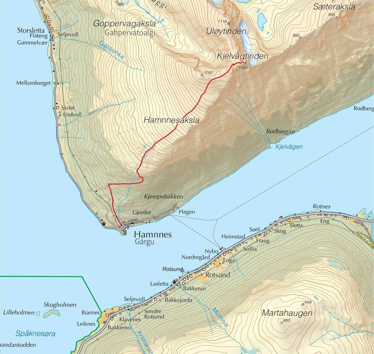 Kart over Kjelvågtinden med inntegnet rute. Fra Trygge toppturer.