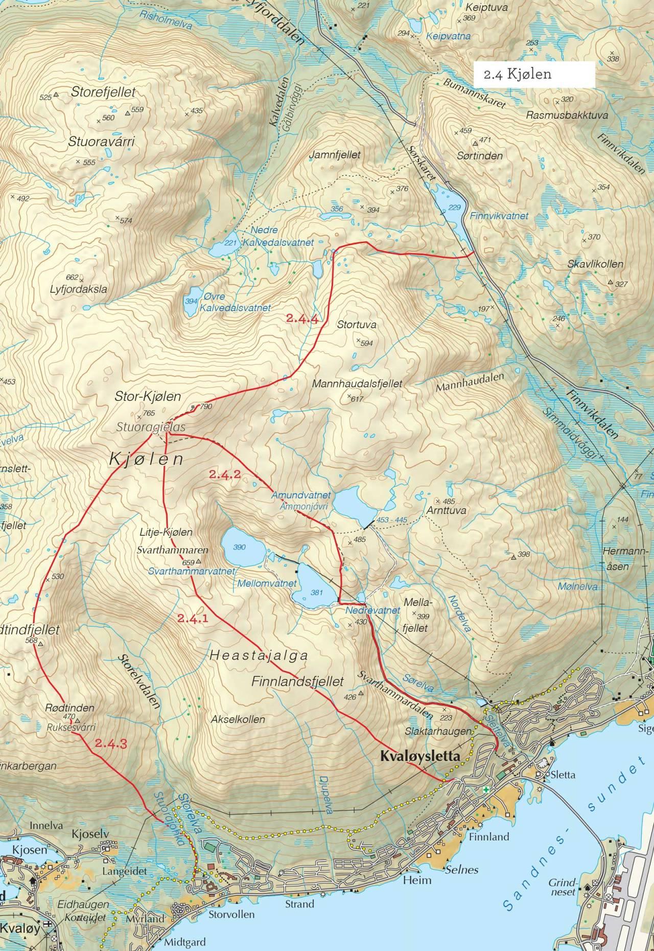Oversiktskart over Kjølen med inntegnet rute. Fra Toppturer i Troms.