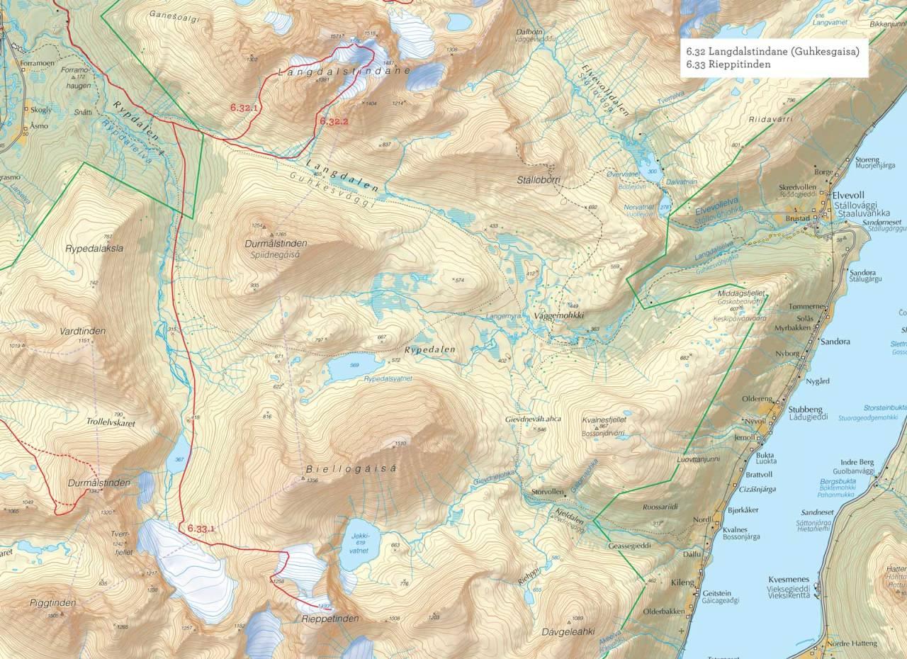 Oversiktskart over Langdalstindane (Guhkesgaisa) med inntegnet rute. Fra Toppturer i Troms.
