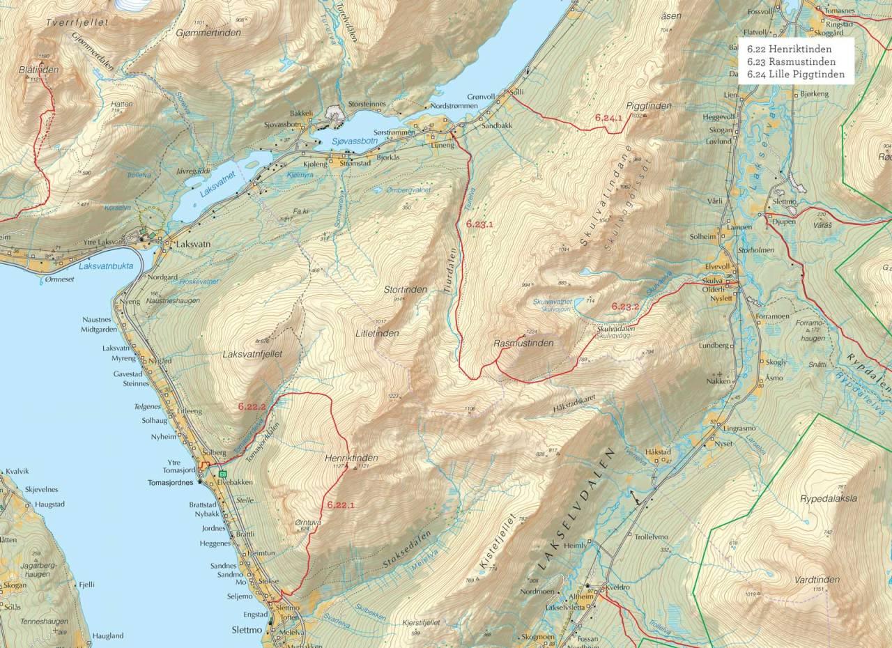 Oversiktskart over Lille Piggtinden med inntegnet rute. Fra Toppturer i Troms.