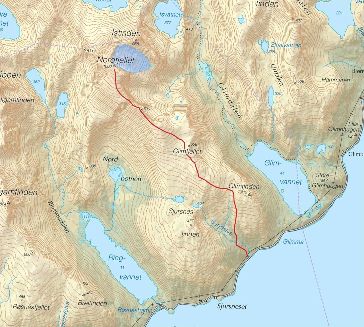 Kart over Nordfjellet med inntegnet rute. Fra Trygge toppturer.