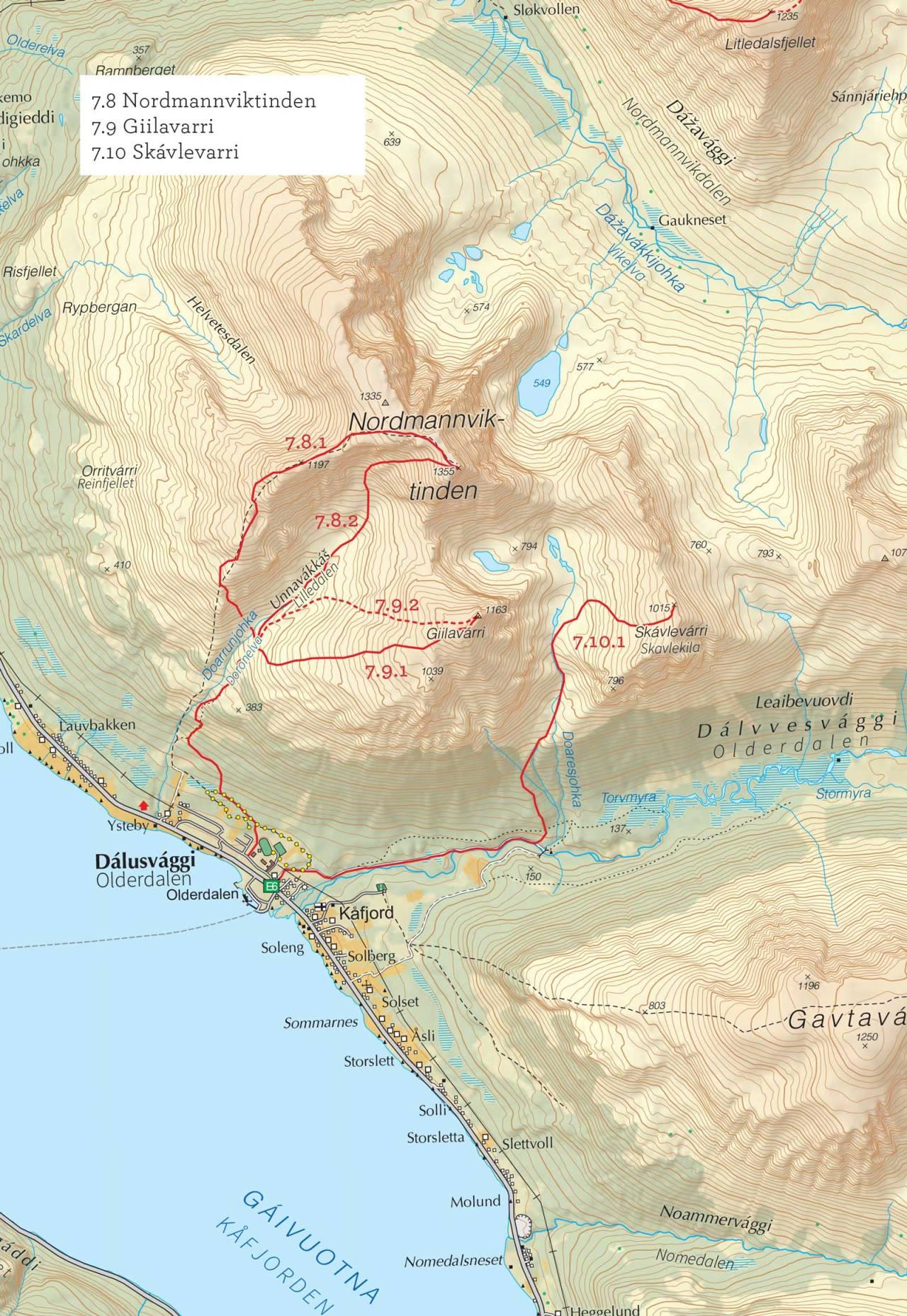 Oversiktskart over Nordmannviktinden med inntegnet rute. Fra Toppturer i Troms.