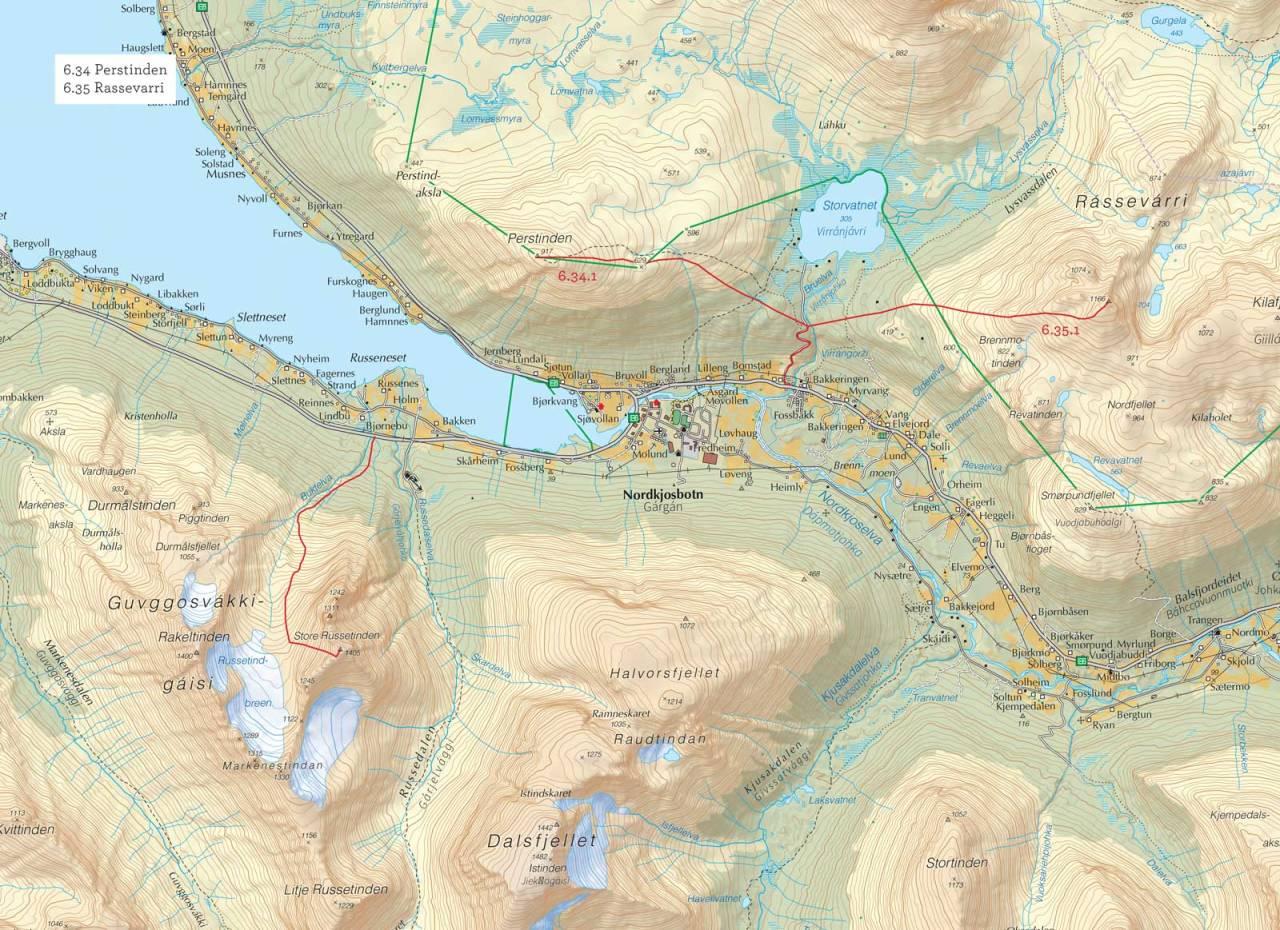 Oversiktskart over Perstinden med inntegnet rute. Fra Toppturer i Troms.