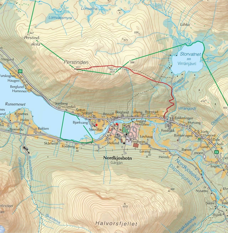 Kart over Perstinden med inntegnet rute. Fra Trygge toppturer.