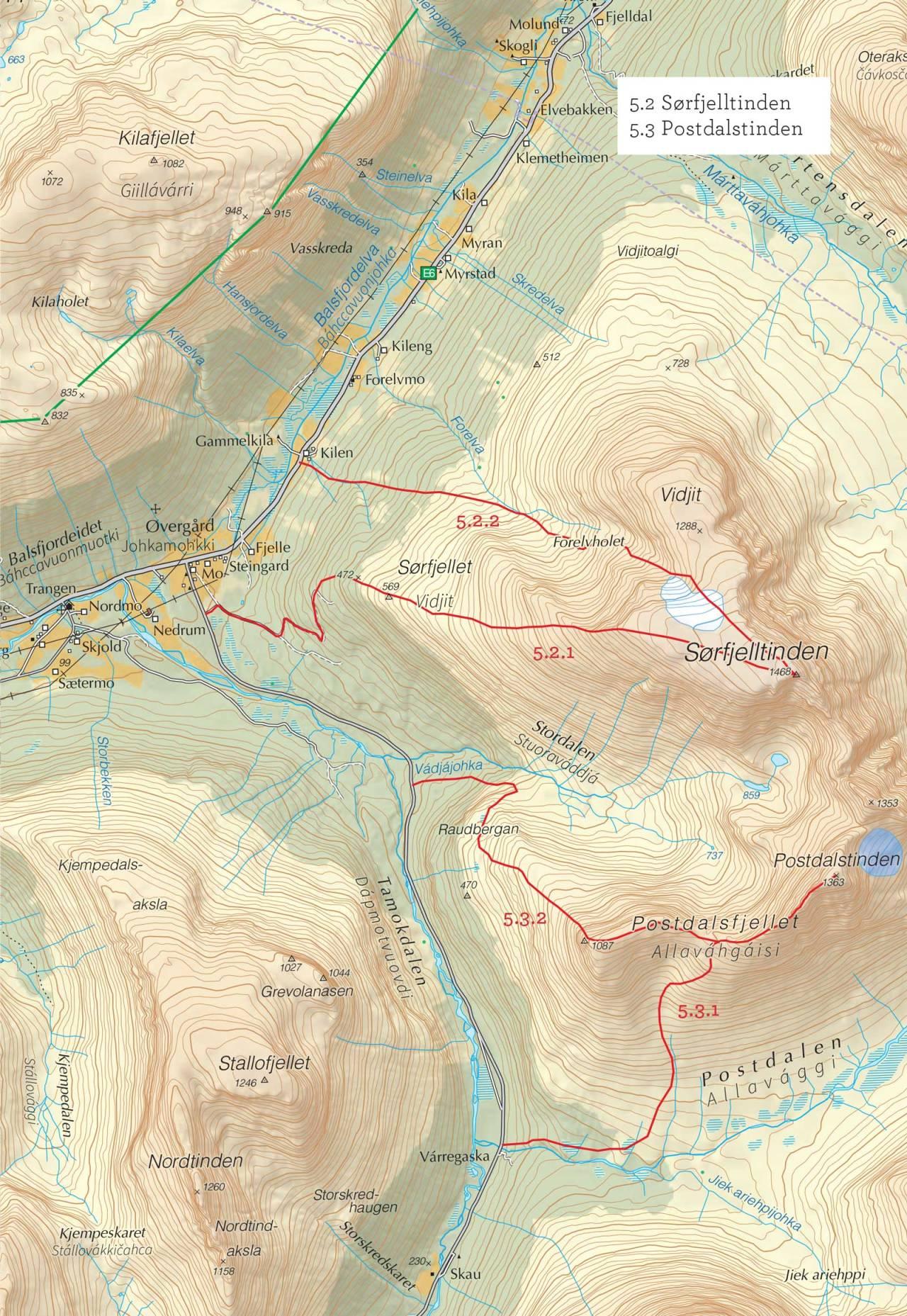 Oversiktskart over Postdalstinden med inntegnet rute. Fra Toppturer i Troms.
