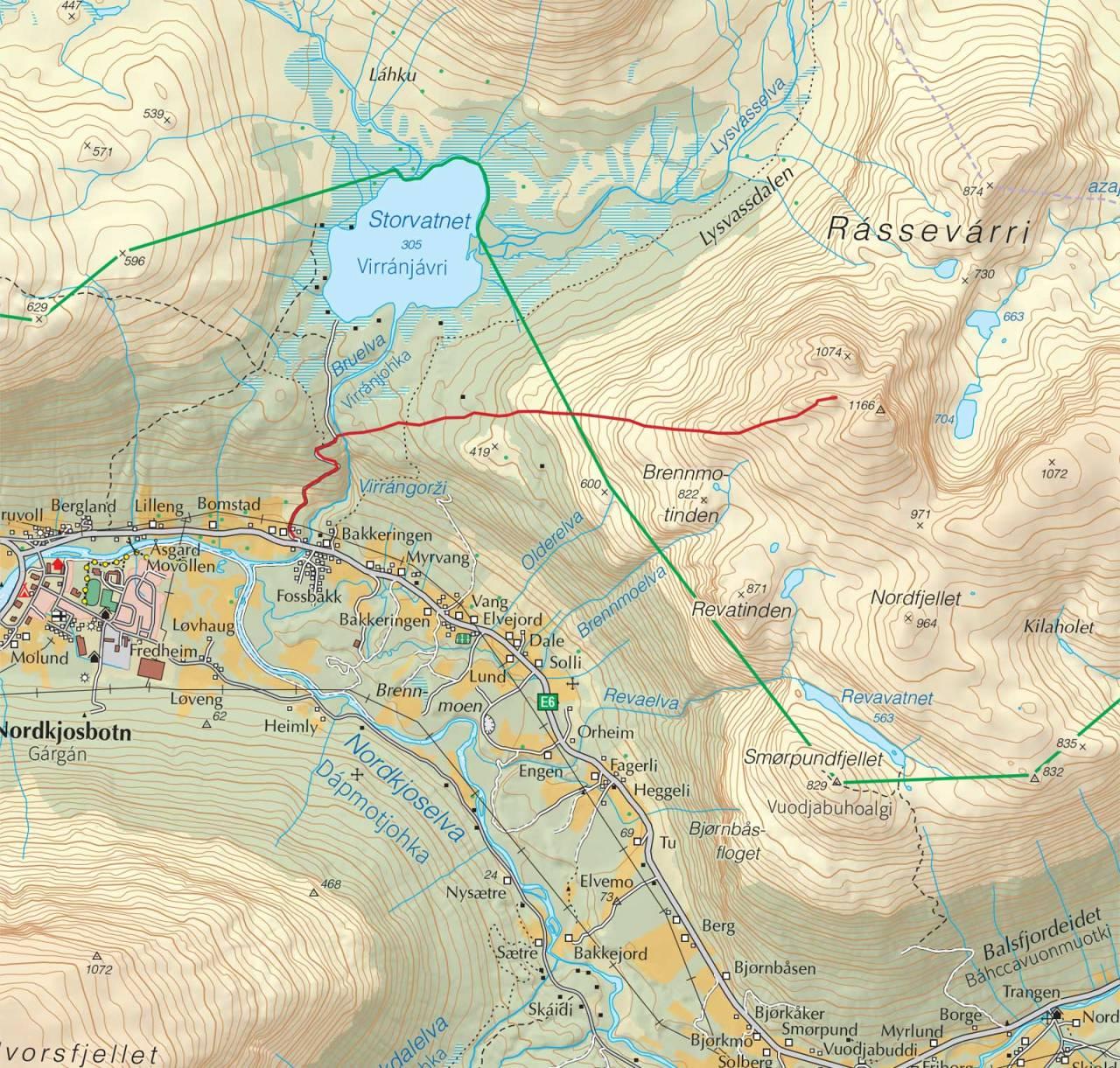 Kart over Rassevarri med inntegnet rute. Fra Trygge toppturer.
