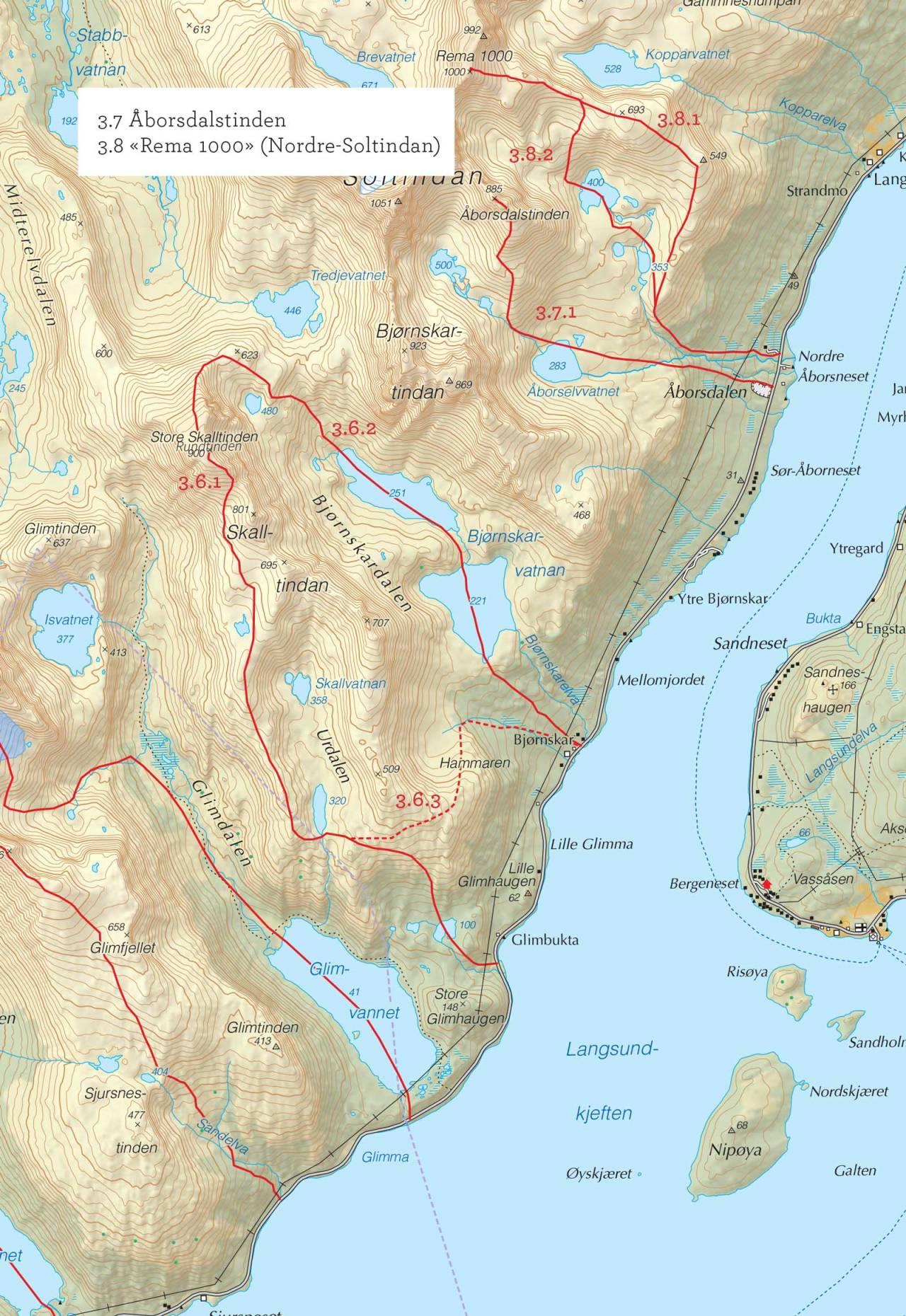 Oversiktskart over Rema 1000(Nordre Soltindan) med inntegnet rute. Fra Toppturer i Troms.