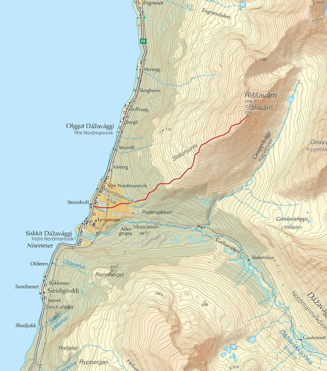 Kart over Rissavarri med inntegnet rute. Fra Trygge toppturer.