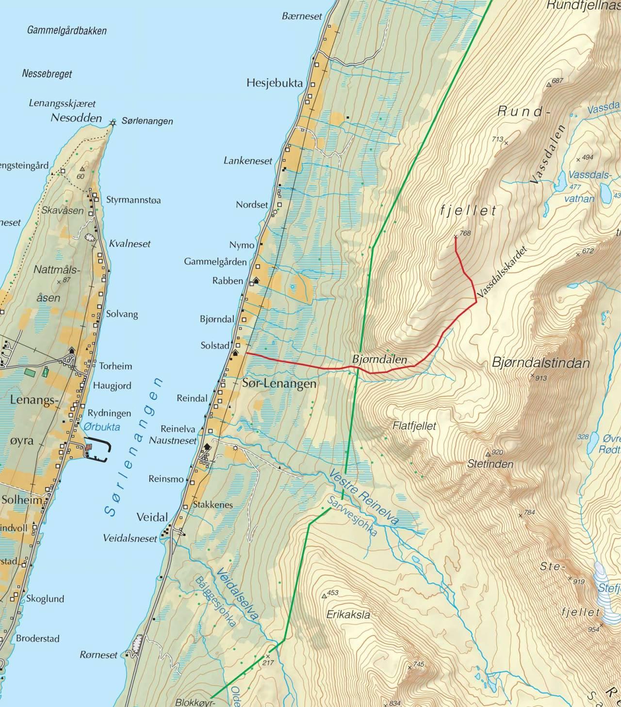 Kart over Rundefjellet med inntegnet rute. Fra Trygge toppturer.