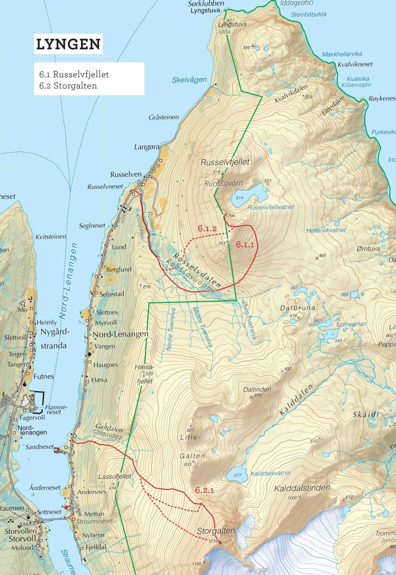 Oversiktskart over Russelvfjellet med inntegnet rute. Fra Toppturer i Troms.