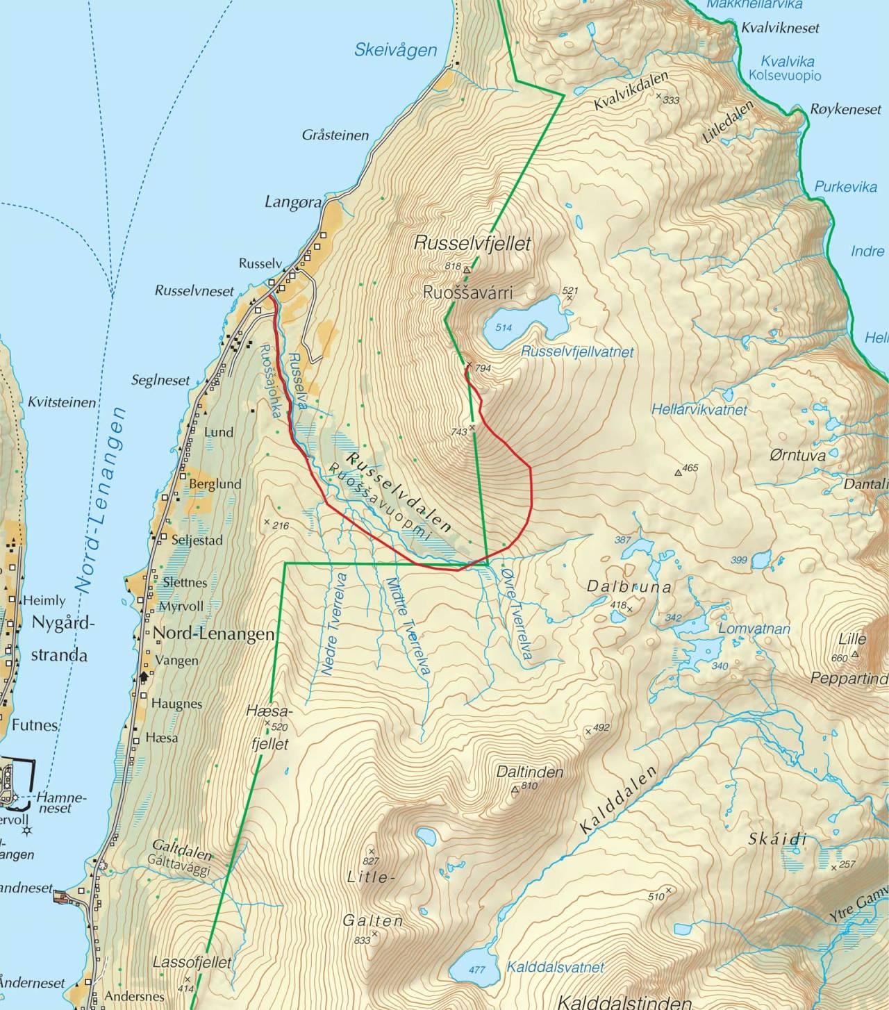 Kart over Russelvfjellet med inntegnet rute. Fra Trygge toppturer.