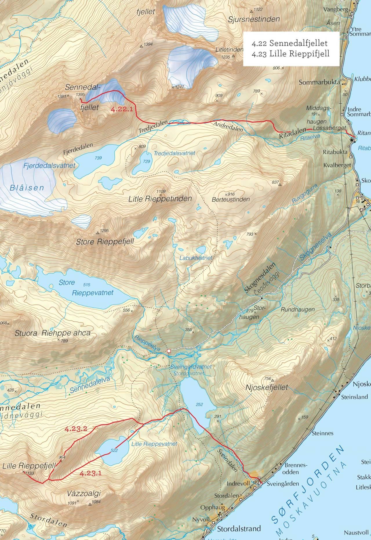 Oversiktskart over Sennedalfjellet med inntegnet rute. Fra Toppturer i Troms.