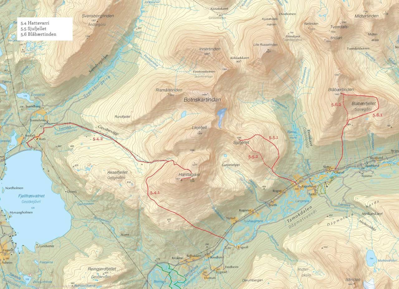 Oversiktskart over Sjufjellet med inntegnet rute. Fra Toppturer i Troms.