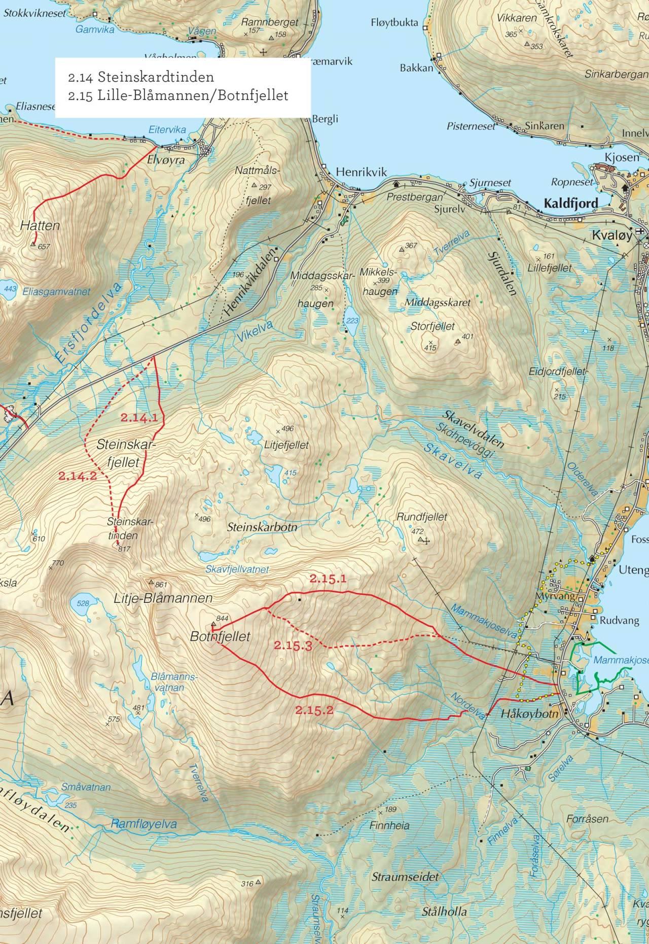 Oversiktskart over Steinskardtinden med inntegnet rute. Fra Toppturer i Troms.