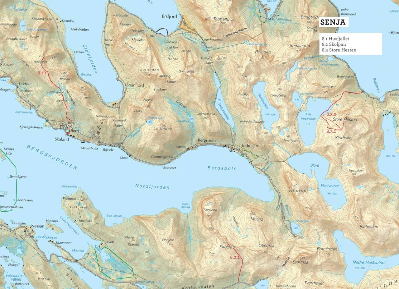 Oversiktskart over Store Hesten med inntegnet rute. Fra Toppturer i Troms.