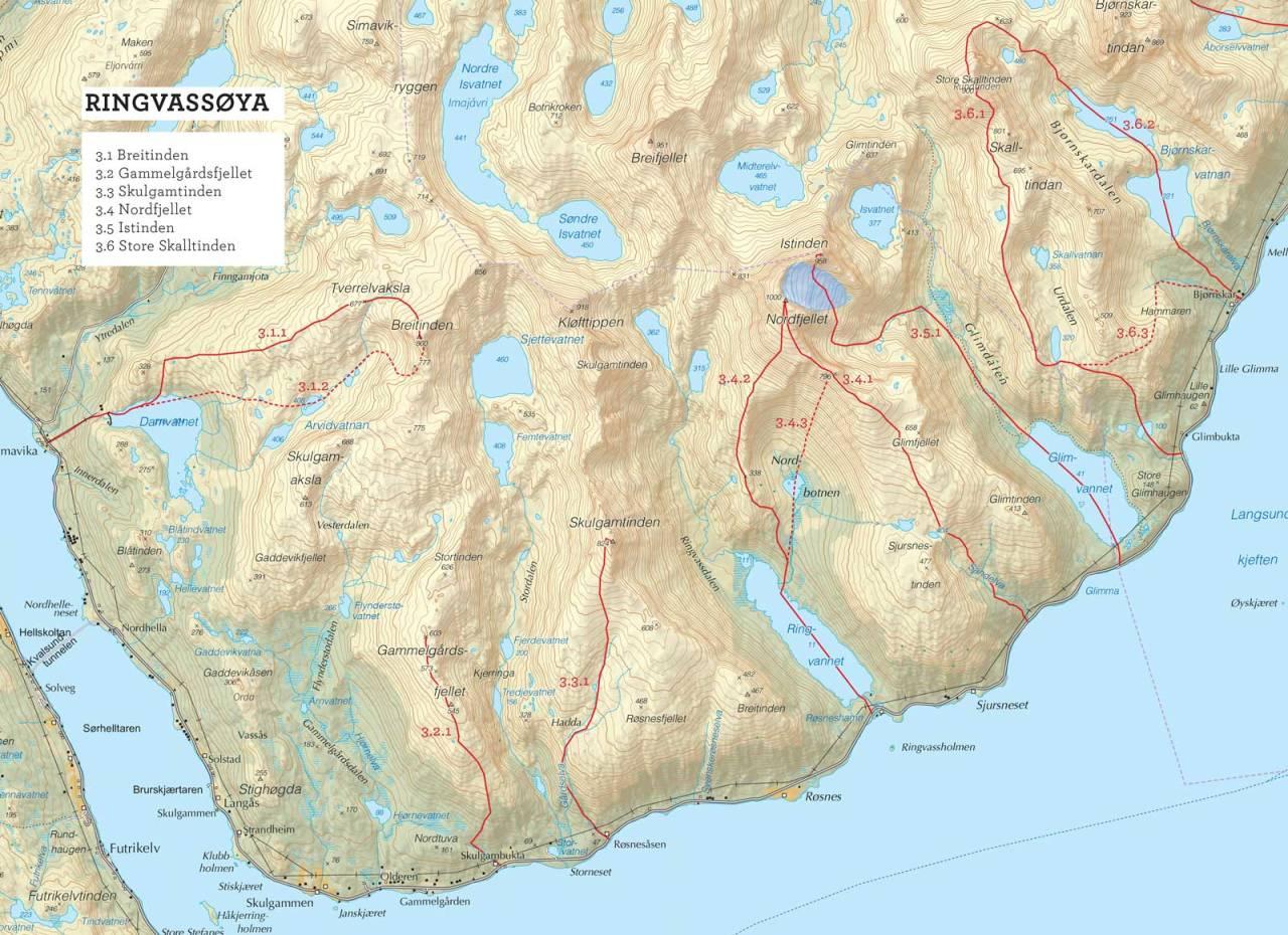 Oversiktskart over Store Skalltinden med inntegnet rute. Toppturer i Troms.
