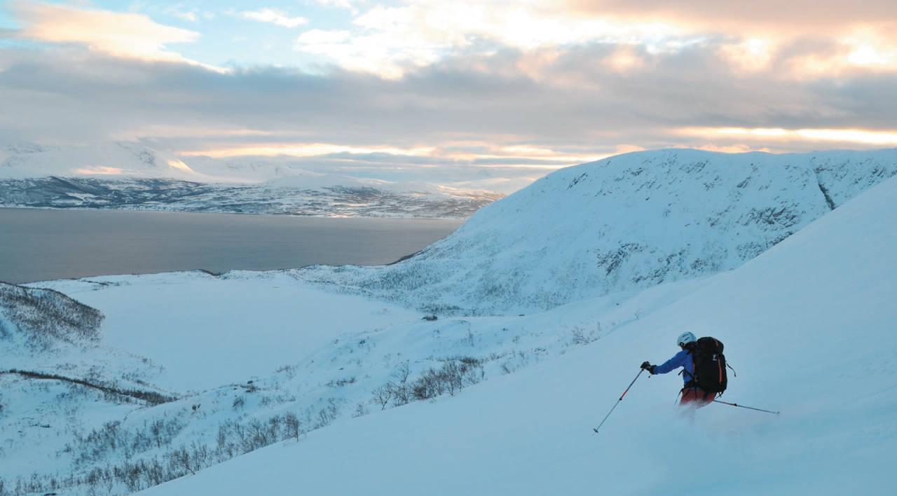 Ringvassøya nytelse. Heidi Berg sporer urørt nysnø på vei ned fra Store Skalltinden. Foto: Espen Nordahl. / Toppturer i Troms.