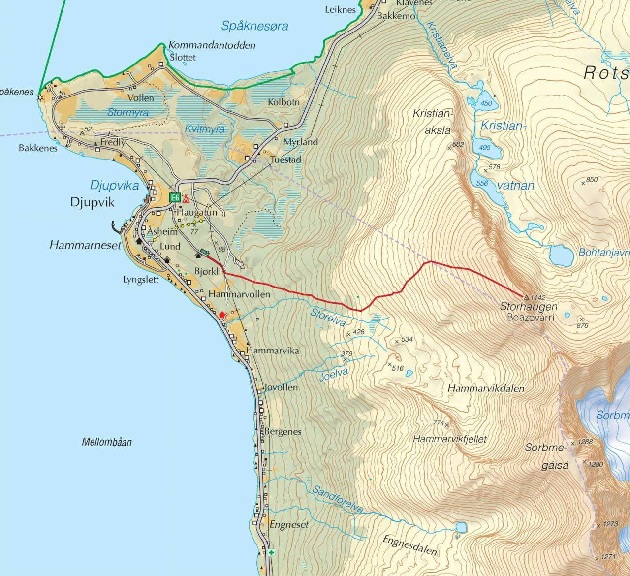 Kart over Storhaugen med inntegnet rute. Fra Trygge toppturer.