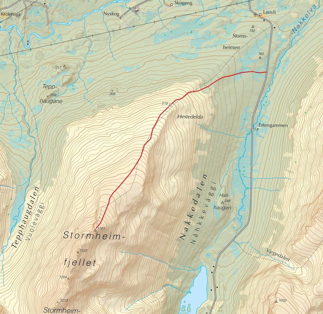 Kart over Stormheimfjellet med inntegnet rute. Fra Trygge toppturer.
