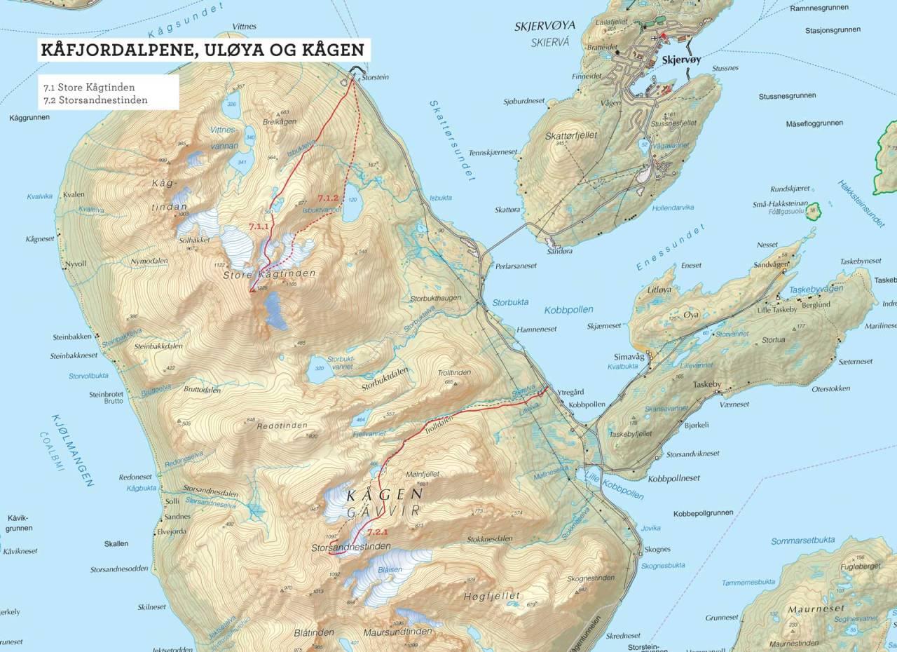 Oversiktskart over Storsandnestinden med inntegnet rute. Fra Toppturer i Troms.