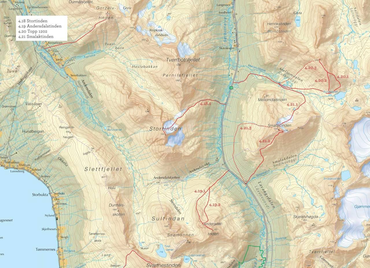 Oversiktskart over Stortinden med inntegnet rute. Fra Toppturer i Troms.