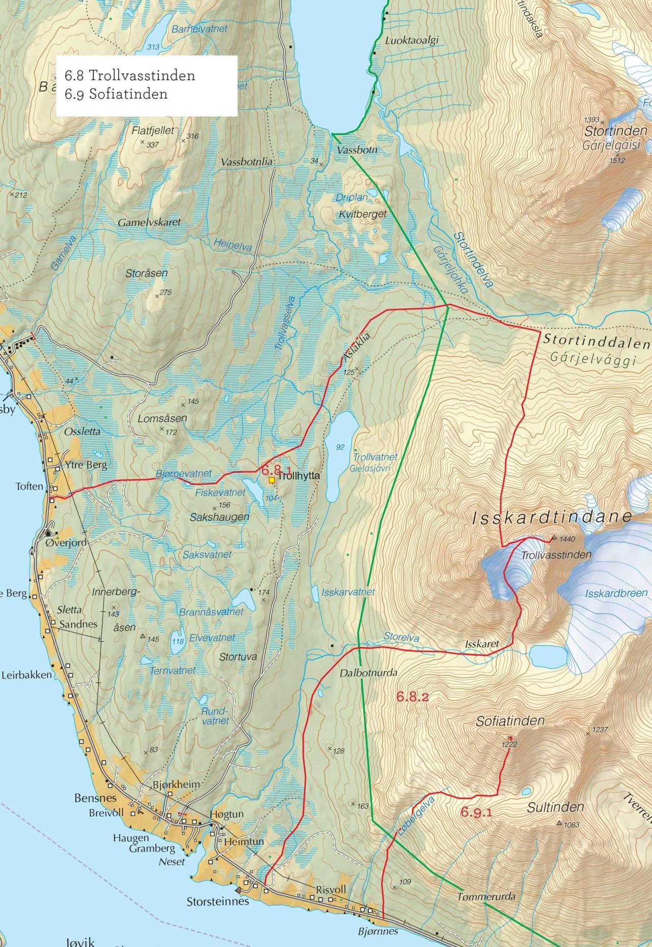 Oversiktskart over Trollvasstinden med inntegnet rute. Fra Toppturer i Troms.