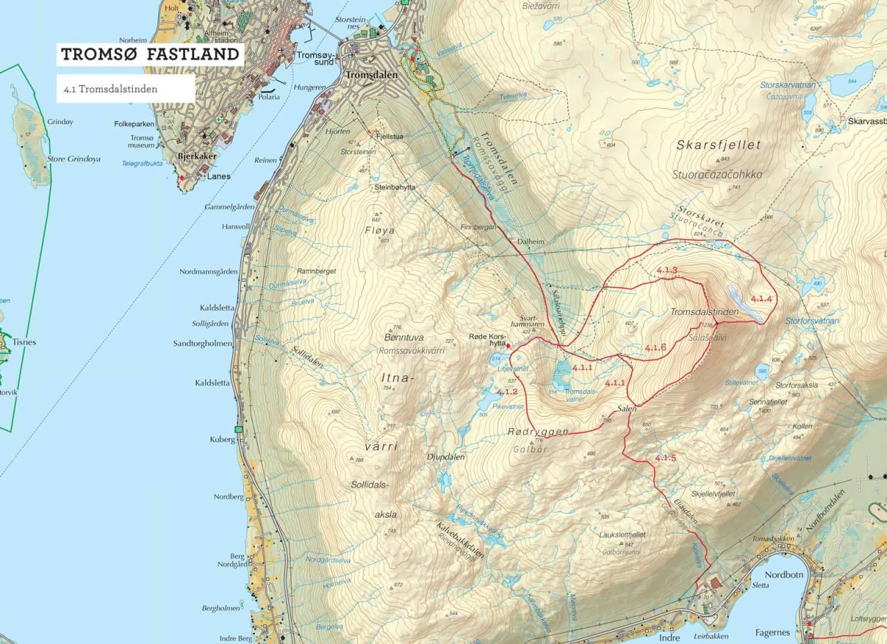 Oversiktskart over Tromsdalstinden med inntegnet rute. Fra Toppturer i Troms.